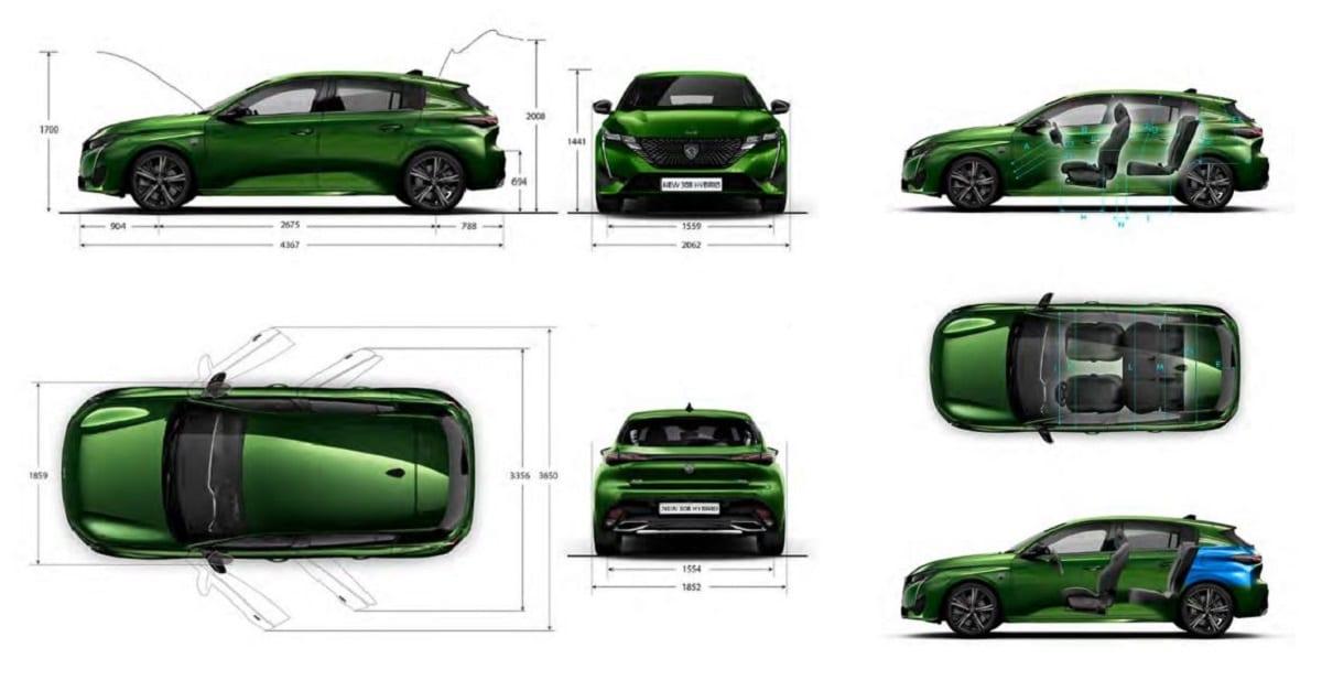 Dimensions techniques nouvelle Peugeot 308